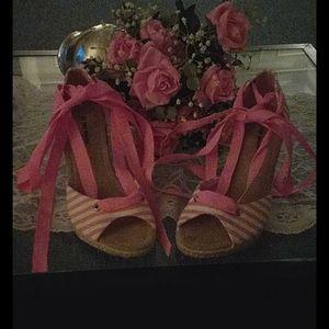 Top Moda pink stripe ribbon tie wedge sandals